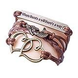 Jarsh Bangle Bracelet Mermaid Double Heart Bracelet Vintage Braided Leather Wristband Bracelet