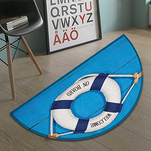 haommhome Buoy Half round doormat outside Welcome on Board Sign on Painted Timber Wall Life Buoy Tightened with Rope Bathroom Mat for tub Non Slip Blue Navy Blue White size35.5