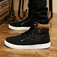 Hot Male Fashion Spring Autumn Men Casual High Top Shoes Canvas Sneakers Leather Shoes Size 12 Black