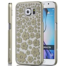 GreatShield Samsung Galaxy S6 Case [TACT Design][Ultra Slim Fit] Design Ultra Slim Fit Rubber Coating for Samsung Galaxy S6 (Gold Blossom)