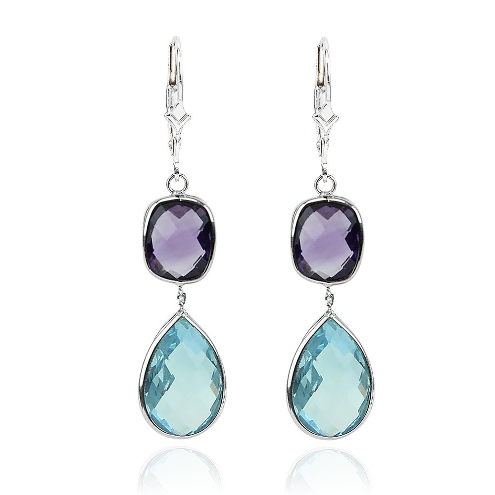 14K White Gold Gemstone Earrings with Amethyst and Blue Topaz Drop