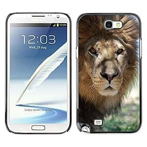 X-ray Impreso colorido protector duro espalda Funda piel de Shell para SAMSUNG Galaxy Note 2 II / N7100 - Lion Beige Nature Savannah Animal King