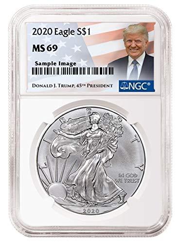 2020 - Silver Eagle Donald J Trump Label Dollar MS69 NGC