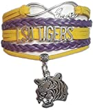 GeauxDat Collectibles LSU Tigers Merchandise - LSU Tigers Womens Apparel Adjustable Infinity Love Charm Bracelet - LSU Tigers Purple and Gold Bracelet