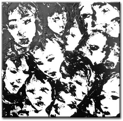 Black and White Wall Art, Title The Crowd IX, Original Painting By Lea Schock
