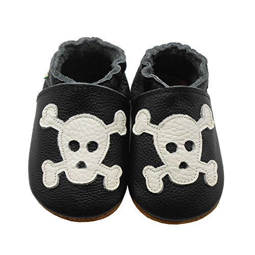 Sayoyo Baby Skull Soft Sole Black Leather Infant and Toddler Shoes 12-18months (Shoes Narrow Infant)