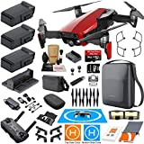 DJI Mavic Air Fly More Combo (Flame Red) Touring Bundle with 3 Batteries, 4K Camera Gimbal, PGYTECH Carrying Case and Must Have Accessories For Sale
