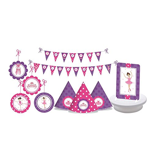 Girls Birthday Party Supplies - Kids Bday Party - 24 Piece Decorating Kit Includes 15 Party Hats, 2 Centerpieces, 1 Happy Birthday Bunting Banner and 6 Danglers (Ballerina - Pink/Purple)