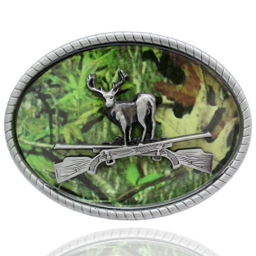 Q&Q Fashion Men Western Antique Silver Deer Stag Buck Cross Rifle Camouflage Hunt Belt Buckle - Camouflage Buckle