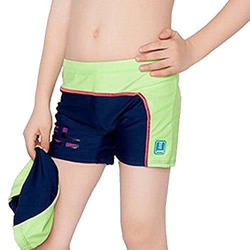 Fitted Swim Boxer - Aivtalk Little Boys Swim Trunks High Elastic Polyester Bathing Suit Swimming Boxer Briefs 5-6 Y Green