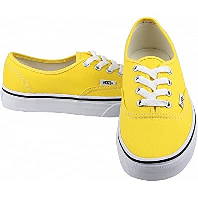 Vans authentic kids cyber yellow true white for Vans amazon