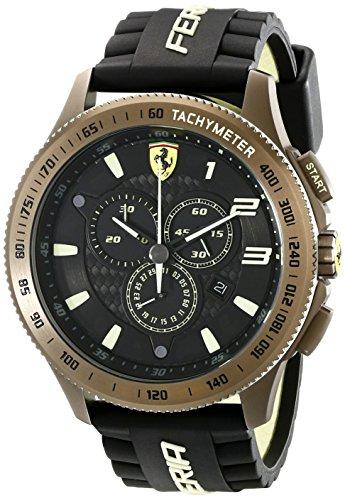 Ferrari Men's 830244 Scuderia XX  Watch with Black Silicone (Black Carbon Steel Bezel)