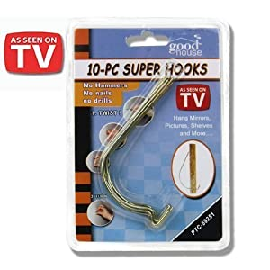 10pc Super Hooks - Hang Pictures without Hammer, Nails or Drilling ...