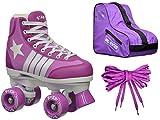 Epic Skates Epic Star Pegasus Purple High-Top Quad Roller Skates Package Juvenile White/Purple 13