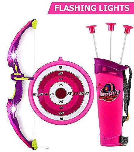 Toysery Bow and Arrow for Kids Set with LED Flashing Lights   Archery Set   Arrow Holder Target and Quiver Outdoor Toys   Pink Light Up Function   Hunting Series Toy for Boys and Girls