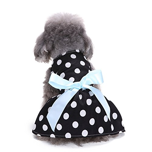 Sumen Cute Polka Dot Ribbon Pet Dress Pretty Girls Dog Clothes Cozy Dog Shirt (S, Black) -