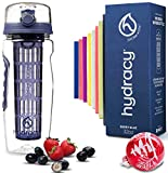 Hydracy Fruit Infuser Water Bottle - 32 Oz Sports Bottle - Full Length Infusion Rod, Time Marker & Insulating Sleeve + 27 Fruit Infused Water Recipes eBook Gift - Blue Berry