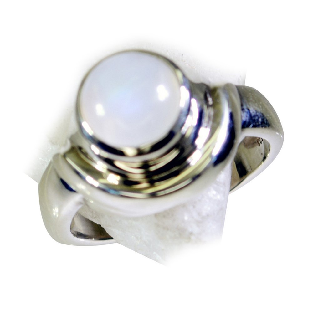 55Carat Natural Rainbow Moonstone Silver Ring Birthstone Handmade Astrological Size 4,5,6,7,8,9,10,11,12