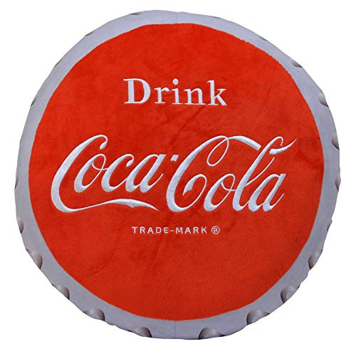 Coca Cola Pillow - Mark Feldstein Drink Coca-Cola Bottle Cap 16 Inch Plush Polyester Embroidered Pillow