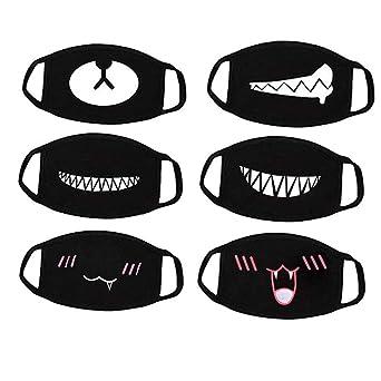 1x Unisex Cartoon Tooth Teeth Mouth Black Three Layers Cotton Half Face Mask SE
