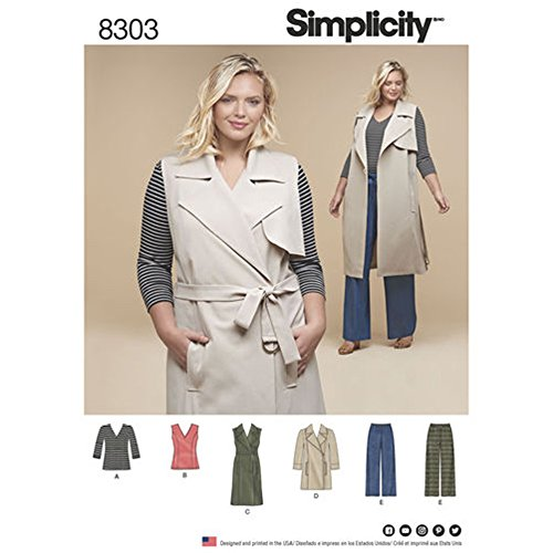 Simplicity D0621 // 8303 Women's Knit Separates Tops, Coat or Vest and Pants Sewing Pattern Size FF (18W - 20W - 22W - 24W)