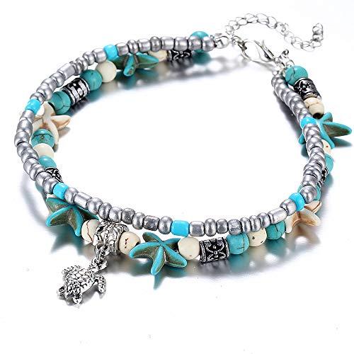 Lovastar Starfish Turtle Anklets Bracelet Layered Boho Beach Foot Jewelry Sets for Women Girls