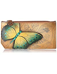 Anuschka Women's Hand Painted Rfid Blocking Card Case with Pouch Earth Song Coin Purse