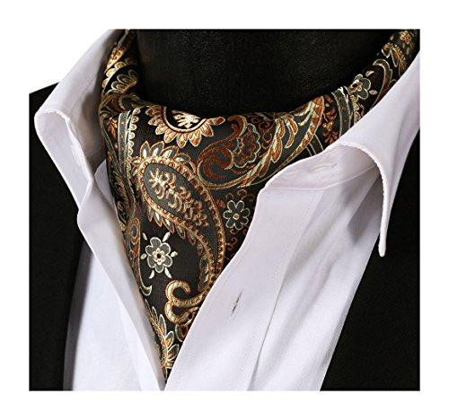 - SetSense Men's Paisley Jacquard Woven Self Cravat Tie Ascot One Size Gold/Brown