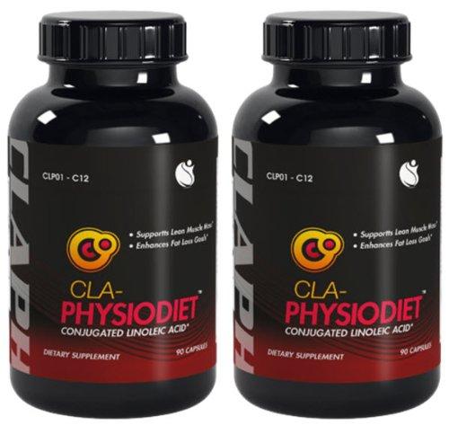 Physio CLA Diet Lean Muscle Mass acide linoléique conjugué CLA 1000mg 180 Capsules 2 Bouteilles
