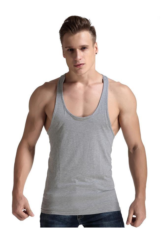Men Fashion Blank Stringer Y Back Cotton Gym