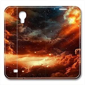 iCustomonline Leather Case for Samsung galaxy S4, Clouded Moon Stylish Durable Leather Case for Samsung galaxy S4