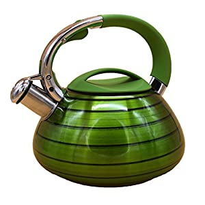 VECALINA Green Whistling Tea Kettle | Stove Top - Tea Kettles Teapots for StoveTop Whistle Stainless Steel Tea Kettle Top Handle | 2.6 Litre Teapot | Compatible On Gas Electric Induction