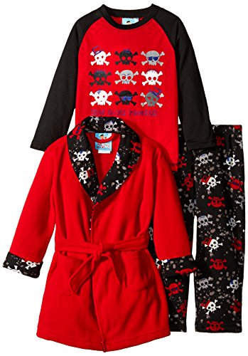 Bunz Kids Little Boys' Toddler 3 Piece Trouble Robe and Pajama Set, Red, 2T