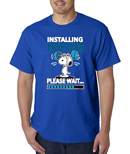 - New Way 433 - Unisex T-Shirt Installing Muscles Please Wait Snoopy Peanuts Workout Training Gym Medium Royal Blue