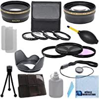 Pro Series 67mm 0.43x Wide Angle Lens + 2.0x Telephoto Lens + 3Pc Filter Sets + 4Pc Close Up Lens + Lens Hood with Deluxe Lens Accessories Kit for Sony NEX-VG30, NEX-VG900 Full-Frame Interchangeable Lens Camcorder
