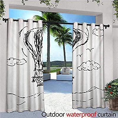 homehot Modern Patio Curtains Hot Air Balloon Sketch in The Clouds Murky Air Journey Artistic Picture Outdoor Curtain for Patio,Outdoor Patio Curtains Charcoal Grey White