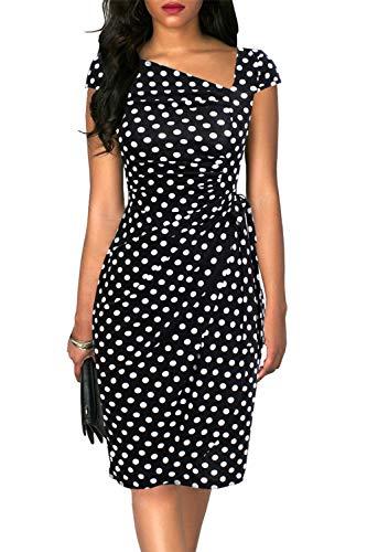 (Liyinxi Vintage Cap Sleeves Asymmetrical Neckline Sheath Pencil Wedding Party Summer Midi Black Polka Dot Wrap Dresses (S, 8022-Black Dot))