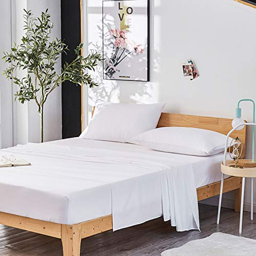 Dreaming Wapiti Queen Sheet Set, Double Brushed Breathable 4pcs Microfiber Bedding, Super Soft Luxury Bed Sheets with 16-inch Deep Pocket, Hypoallergenic, Wrinkle Fade Resistant (White)