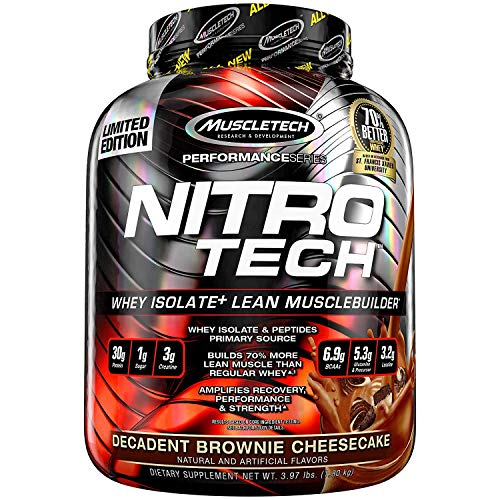 (MuscleTech NitroTech Protein Powder Plus Muscle Builder, 100% Whey Protein with Whey Isolate, Decadent Brownie Cheesecake, 40 Servings (4lbs))