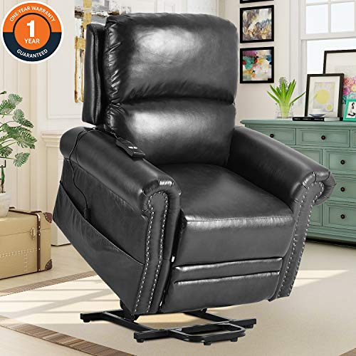 Harper & Bright Designs Power Lift Soft PU Leather Upholstery Recliner Living Room Sofa Chair, One Size, Black