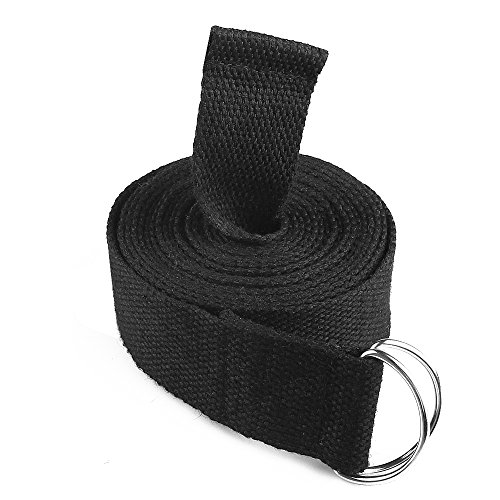 Cordking Stretching Yoga Strap10FT Extra Long Soft Durable Cotton and Adjustable D-Ring Buckle Suitable for Holding Poses Improving Flexibility and Physical Therapy(Black)