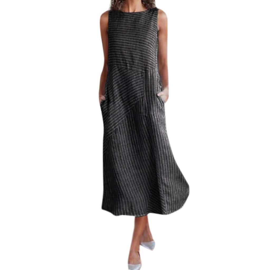 Peigen Women's Cotton Linen Solid Bohemian Dress,Casual Loose Sleeveless Round Down Collar Tunic Top Dress Pocket