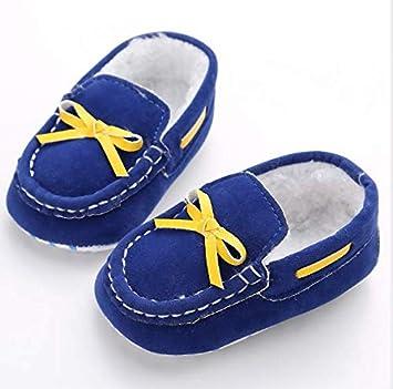 KINGDUO Chaussures De Bébé De Printemps Et d'automne 0-1 Chaussures De Chéri Femelles Molles De Bas Réglées De Pied Plus De Chaussures De Chéri De Velours-Jaune 12