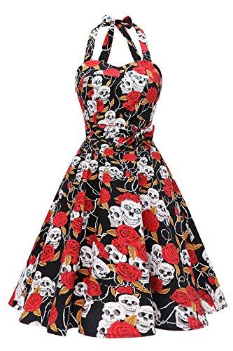 Topdress Women'sVintage Polka Audrey Dress 1950s Halter Retro Cocktail Dress Skull Flower 2XL for $<!--$26.99-->