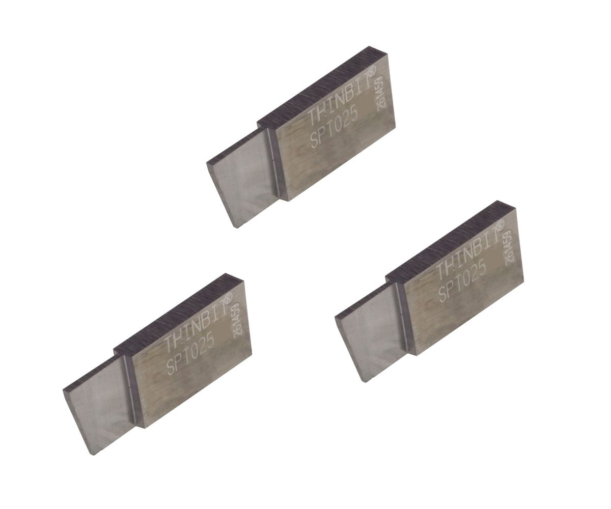 3 Pack SPT025D2 LITTLEBIT 'S' Series Parting Insert, Uncoated Carbide for Steel, cast Iron and Stainless Steel with Interrupted cuts. THINBIT Made in The USA