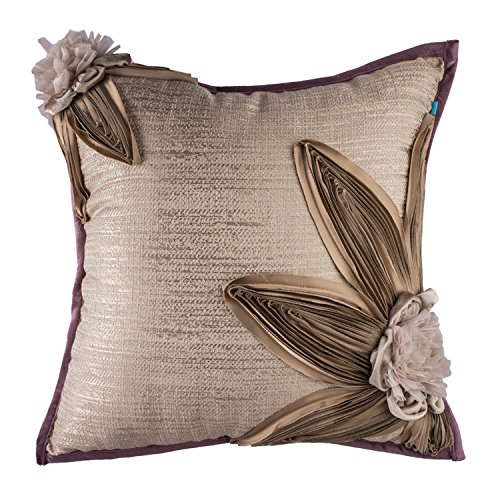 Large Rustic Soft Square Shabby Chic Floral Throw Pillow Cushion Cover, Brown Beige Taupe, 20x20