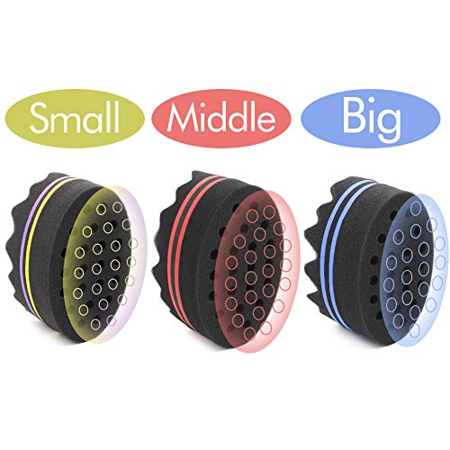 Parabirds Curl Twist Hair Sponge Double-Sided Hair Brush Afro Hair Comb(3PCS)