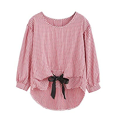 Franterd Red Lattice Shirt Dress for Women for Jeans, Casual Bow-Knot Long Hem Ladies Tank Tops Blouse