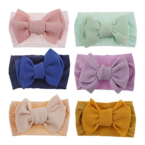 Baby Nylon Knotted Headbands Girls HeadWraps Newborn Infant Toddler Hairbands and Bows (Multicolor- PG10) ()