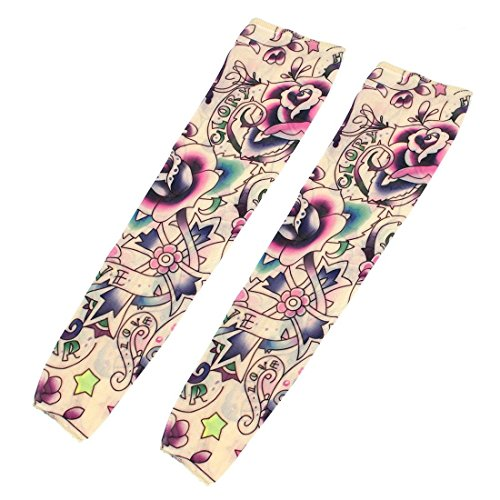 Sleeve cover - SODIAL(R) 2 Pcs Star Flower Pattern Fake Tattoo Sleeve cover